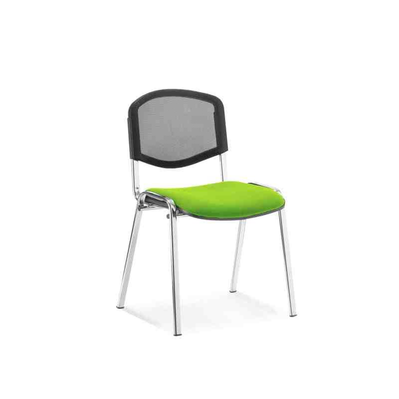 ISO Chrome Frame Mesh Back Bespoke Colour Fabric - (Min Order Qty X 4) Myrhh Green