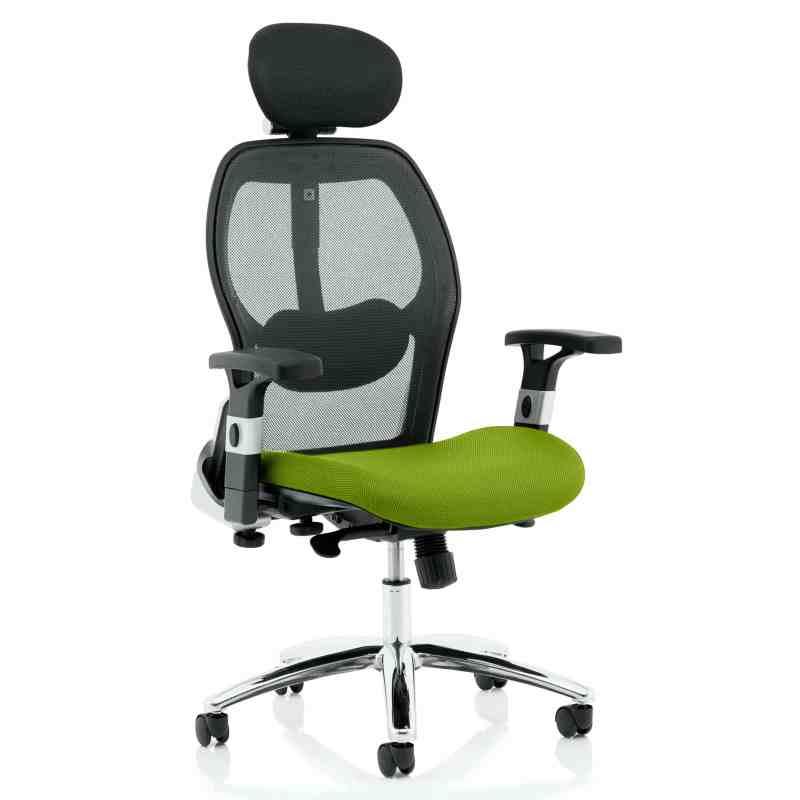 Sanderson II Upholstered Seat Only Myrrh Green Mesh Back Chair