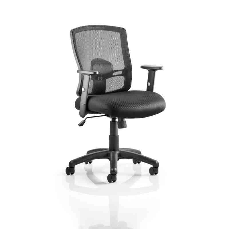 Portland Task Operator Chair Black Mesh With Arms