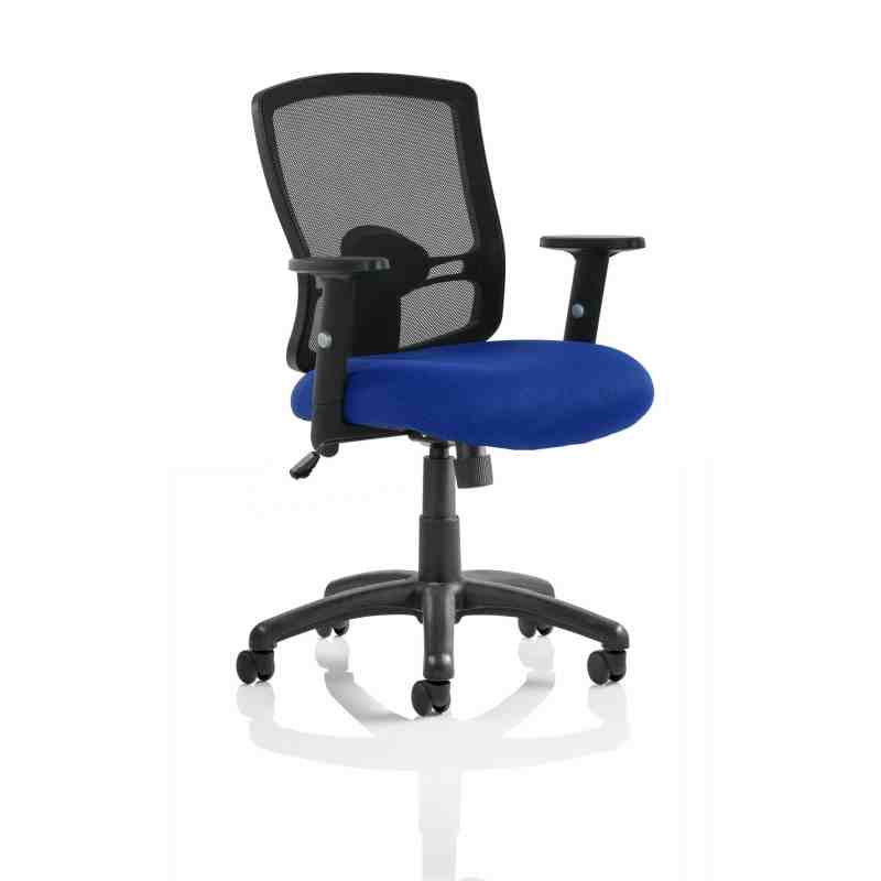 Portland Task Operator Chair Black Back Blue Airmesh Seat With Arms