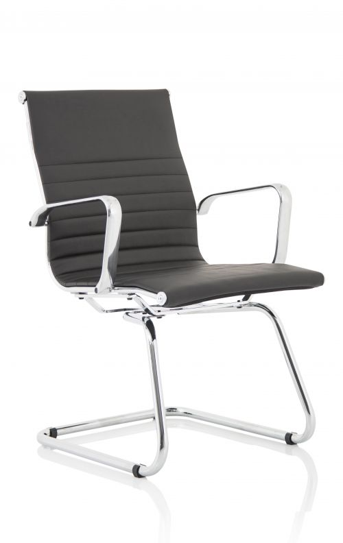 Fenn Black Faux Leather Cantilever Chair