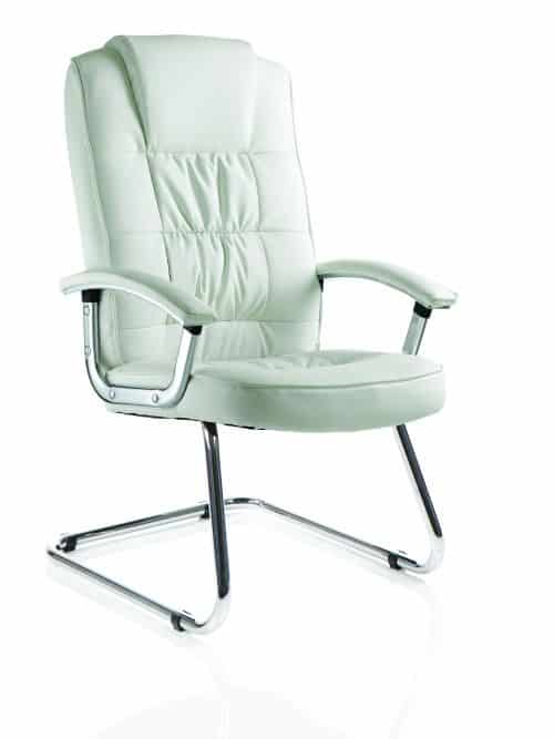 Moore Deluxe Visitor Cantilever Chair White Leather With Arms