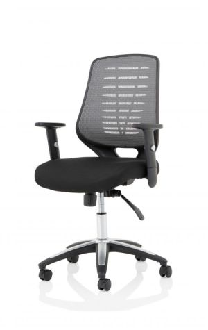 Relay Task Operator Chair Airmesh Seat Silver Back With Height Adjustable Arms
