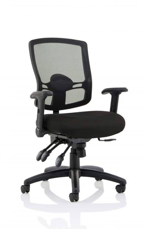 Portland III Task Operator Chair Black Mesh Back with Height Adjustable and Folding Arms