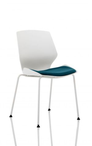 Florence White Frame Visitor Chair in Maringa Teal