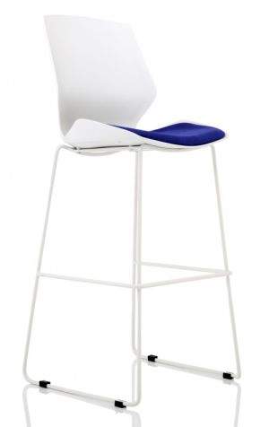 Florence White Frame High Stool in Stevia Blue