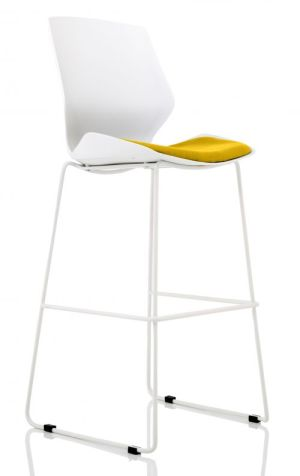 Florence White Frame High Stool in Senna Yellow