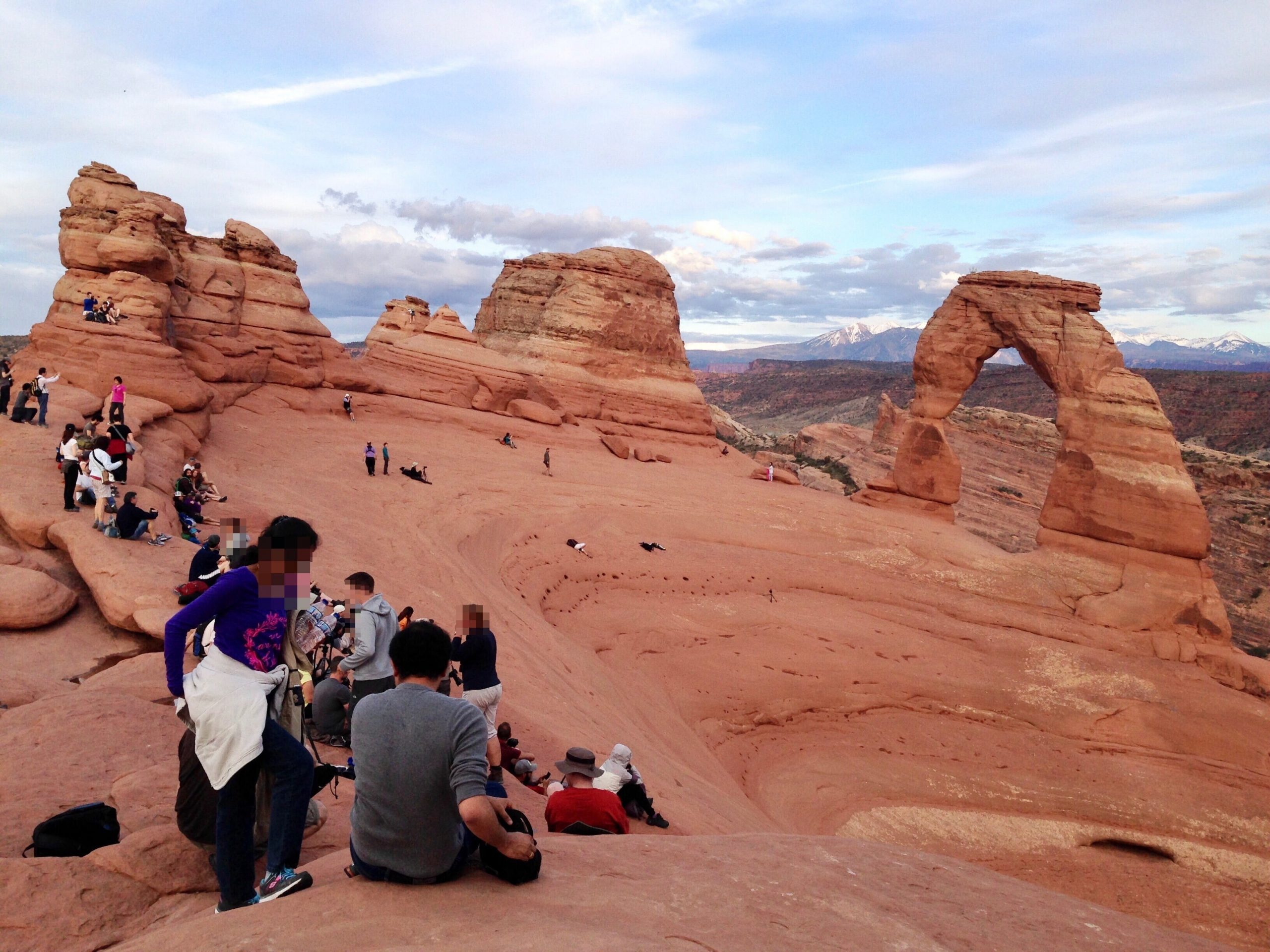 Crowds at Delicate Arch in Arches National Park