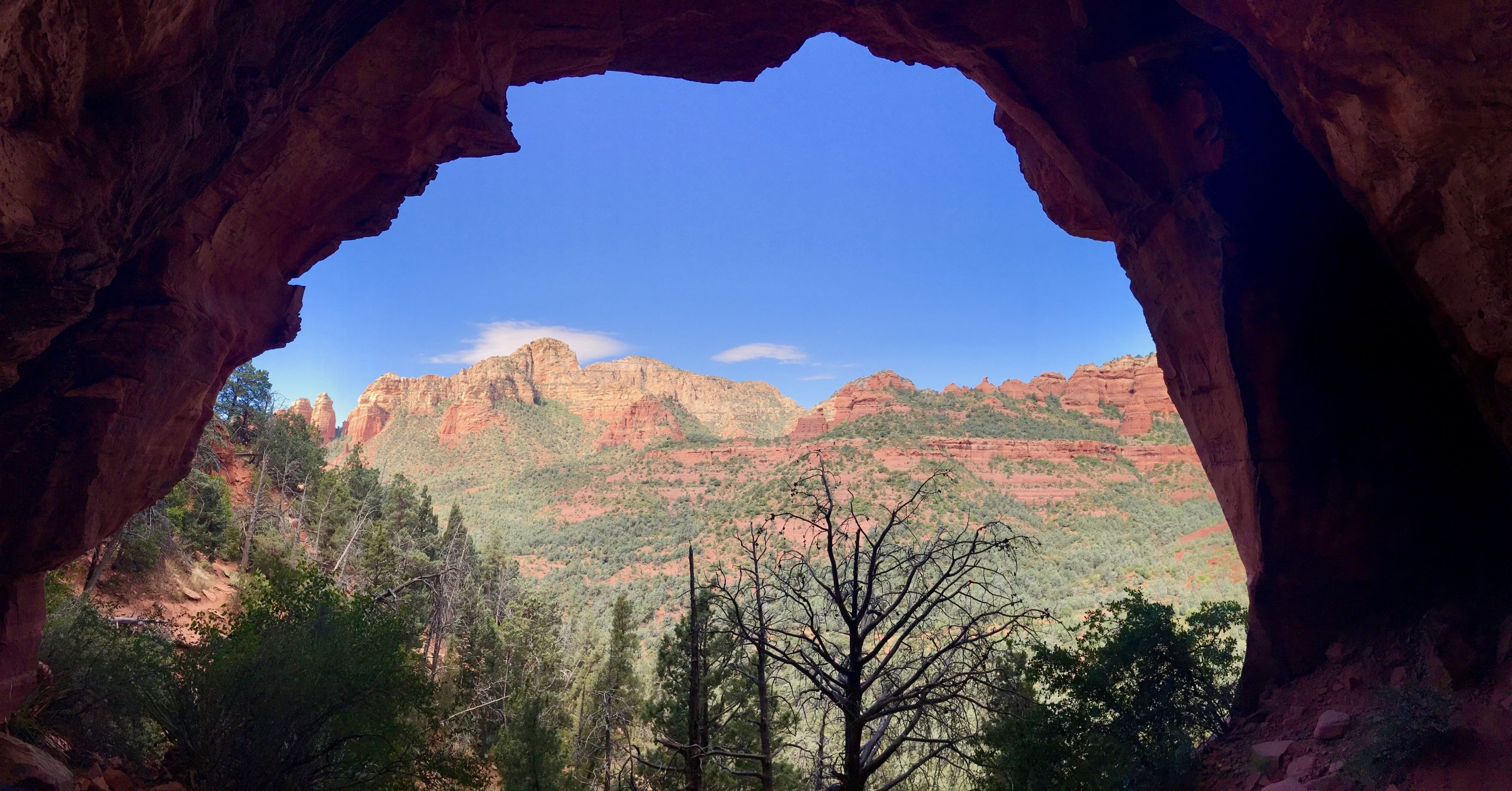 View from Arch at Soldier Pass Cave on Soldier Pass Trail Sedona AZ