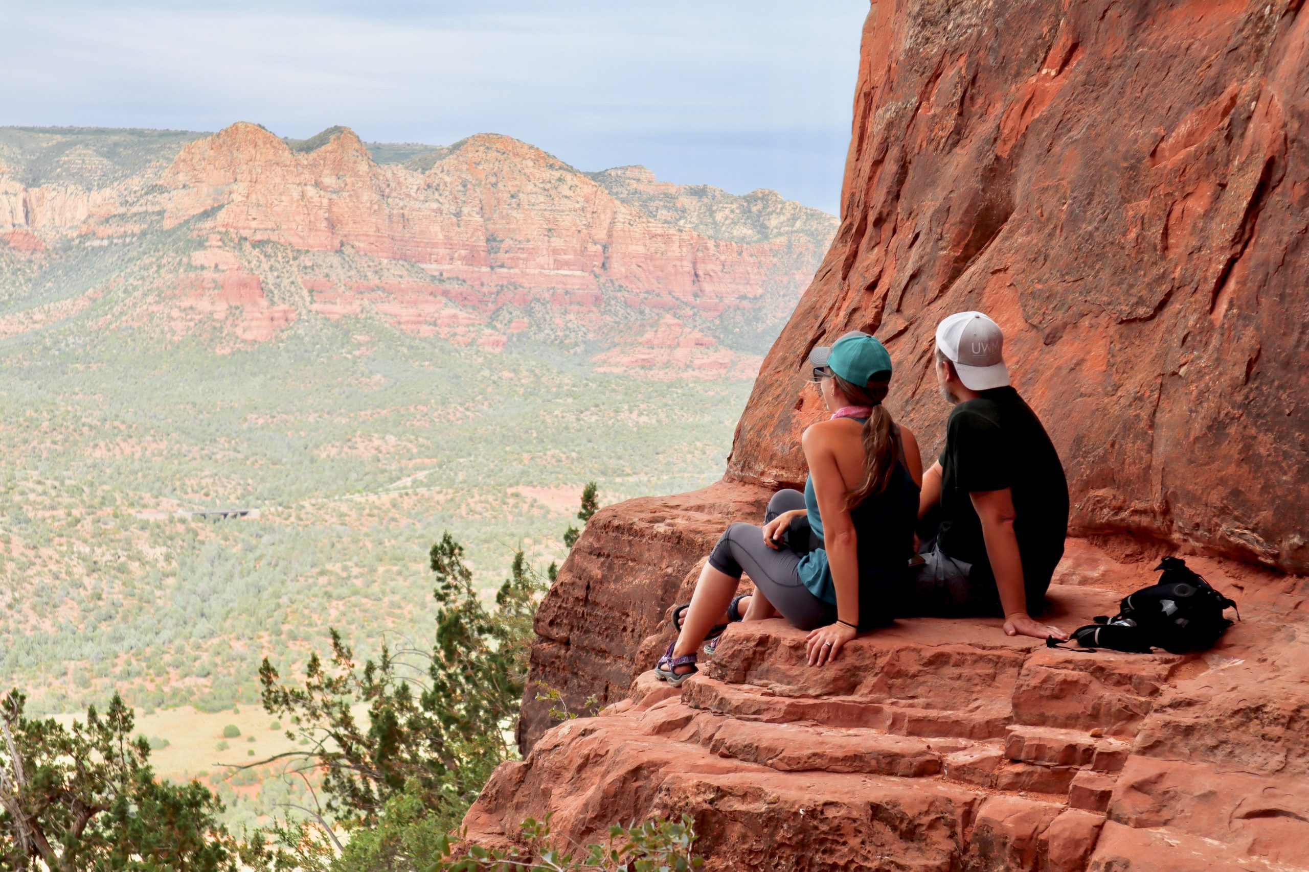 Briana and Justin Taking in the View of Sedona from Cathedral Rock
