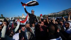 Protest erupts in Damascus after U.S.-led airstrikes in Syria