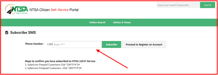 how to subscribe to ntsa sms