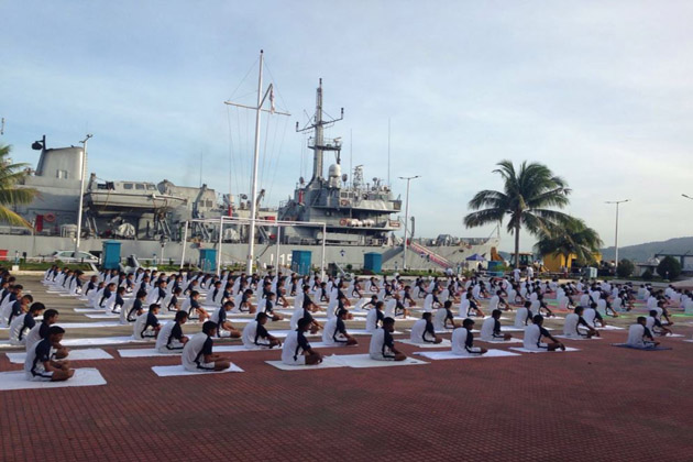 Yoga at Eastern Naval Command in Visakhapatnam