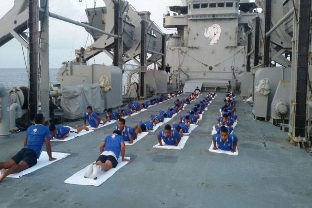 Yoga at sea, onboard INS Airavat on Yoga Day