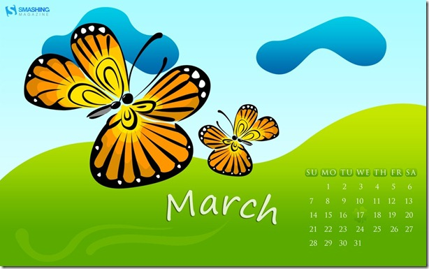 butterfly - Download Smashing Magazine March 2010 Windows 7 Theme
