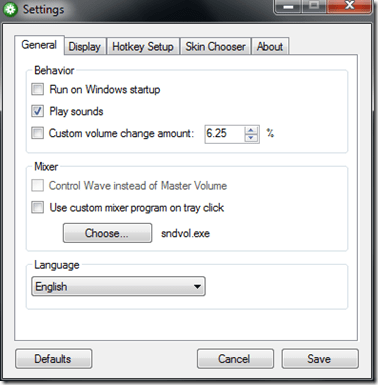 default settings - How To Add Mac Style Volume Control On-Screen Indicator in Windows 7