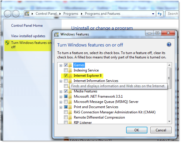 "051509 0719 howtoturnof22 - How to turn off ""uninstall"" Internet Explorer 8 in Windows 7"