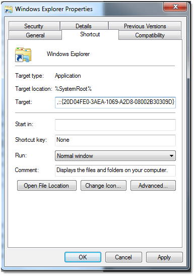 052509 0617 howtochange31 - How to change the default location in Windows Explorer to My Computer in Windows 7
