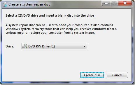create a system repair disc