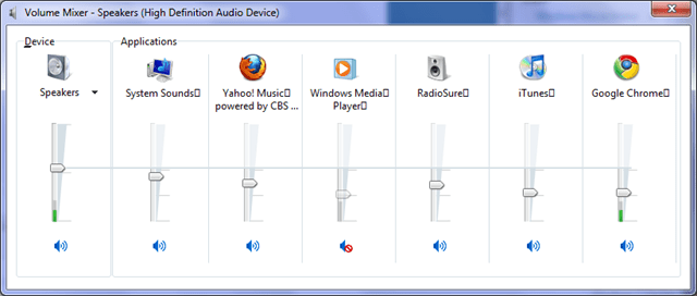 Application Driven Audio Volume Mixer in Windows 7 - Next of Windows