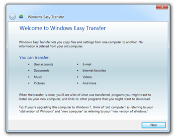 Improved Easy Transfer Wizard to Back Up Your Data in