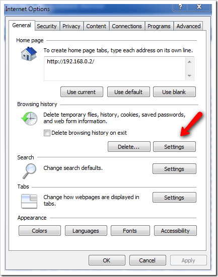 Where is the Temporary Internet Files Folder Located in
