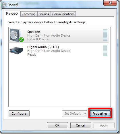 sound properties 001 - How To Adjust Audio Balance In Windows 7