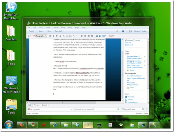 How To Resize Taskbar Preview Thumbnail in Windows 7 - Next