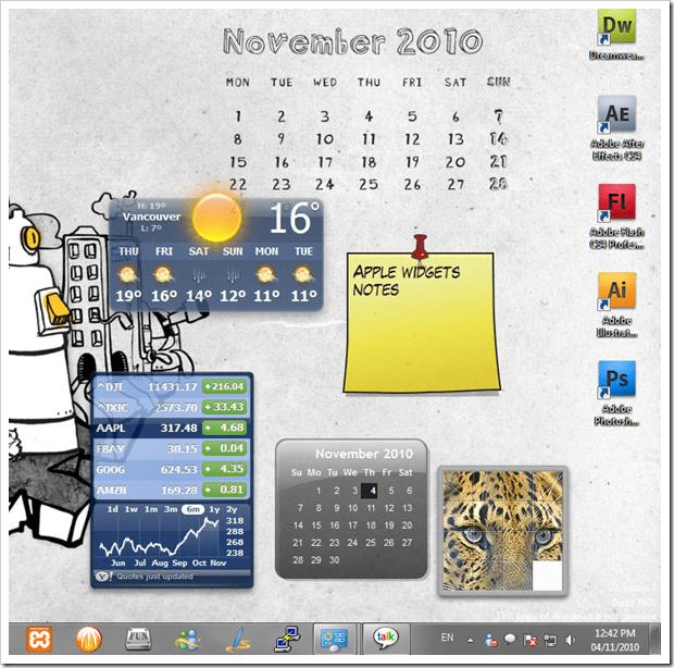 Install Native Mac OS X Dashboard Widgets on Windows 7