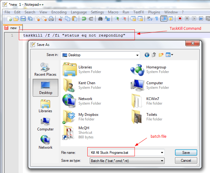 How To Use TaskKill to Kill All Hung or Not-Responding Programs At