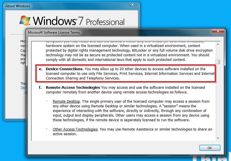 How Many Concurrent Connections Allowed to Access A Windows