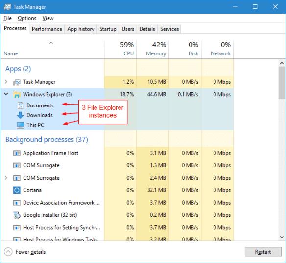 Windows 10 - File Explorer mulitple instances