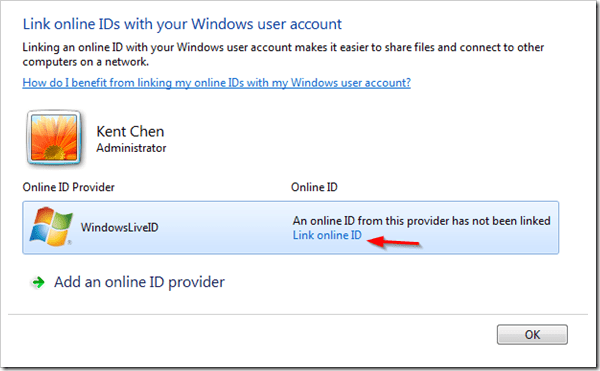 How To Link Online IDs with Your Windows User Account in Windows 7