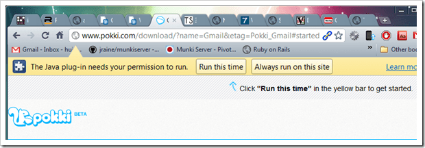 run the java plugin thumb - Pokki The Missing Windows 7 Desktop WebApp With Sleek UI