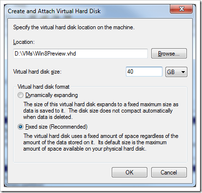 Create and attach VHD