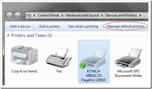 Manage Default Printer  1 thumb - Windows 7 Tip: How To Change Default Printer Based On The Network You Are Connected To