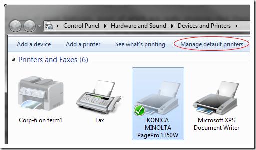Manage Default Printer #1