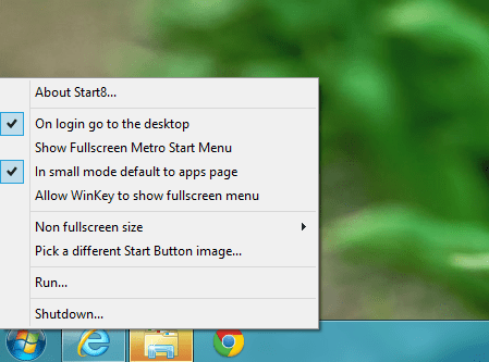 Start8 Start Menu Option