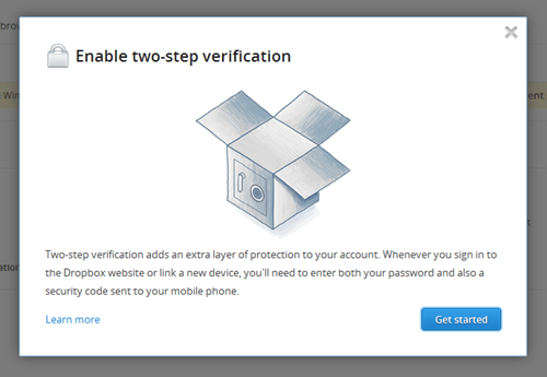 Dropbox 2-factor Auth wizard #1
