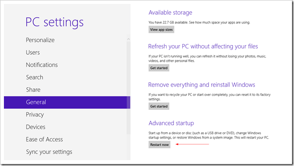 PC Settings General Advanced Startup