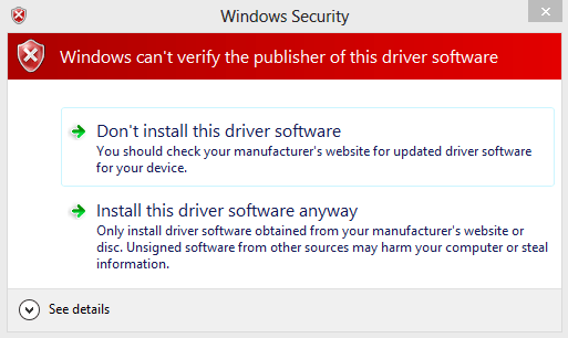 Windows 8 Driver Security Prompt