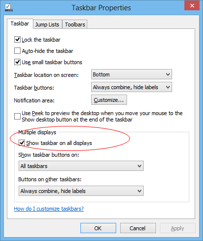 Windows 8 Dual Screen - taskbar options