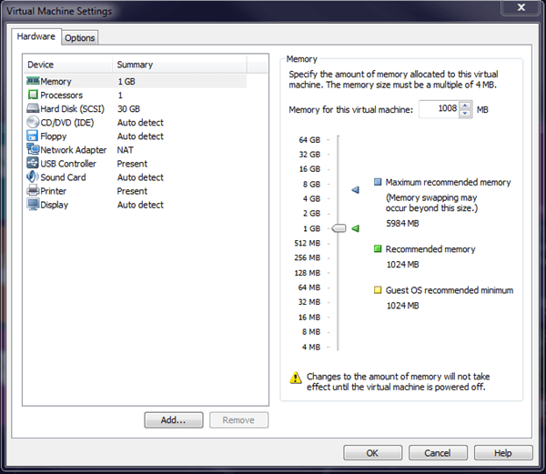Windows 8 VMware Player Settings