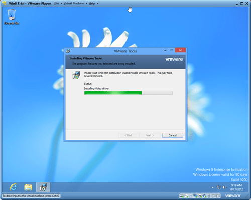 Windows 8 VMware player VMware Tools thumb - Installing Windows 8 in A Virtual Environment with VMware Player