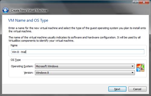 Windows 8 VirtualBox Create VM #1
