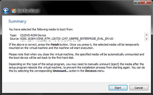 Windows 8 VirtualBox First Run Wizard summary