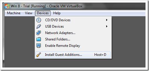 Windows 8 VirtualBox Install Guest Additions
