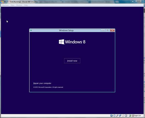 Windows 8 VirtualBox Installing