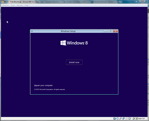 Windows 8 VirtualBox Installing