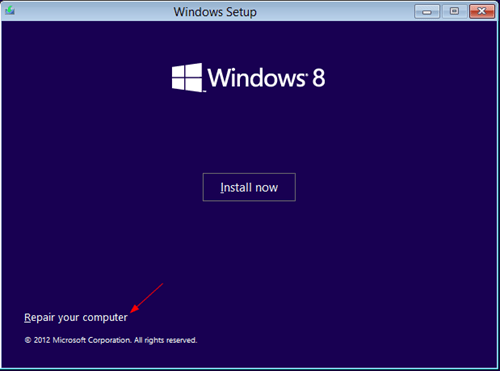 Boot to Repaire mode Windows 8